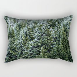 Snow Bank Woodlands // Photograph of the Dense Blue Green Evergreen Pine Tree Forest Rectangular Pillow