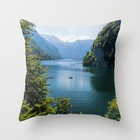 germany Throw Pillows featuring Germany, Malerblick, Koenigssee Lake III by UtArt