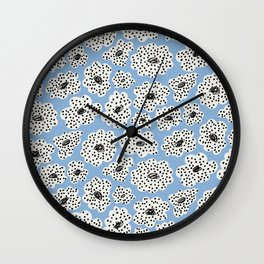 Spotted modern floral on powder blue Wall Clock
