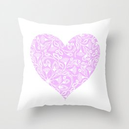 Floral Heart Design Pink and White Throw Pillow