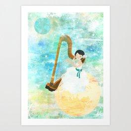 Harp girl: Music from the moon Art Print