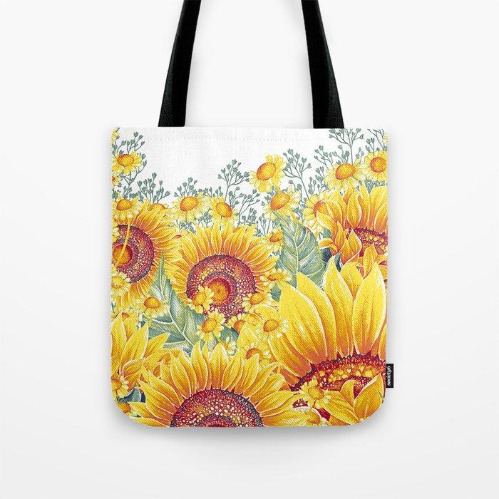 Vintage Garden 15 (Sunflower Field) Tote Bag