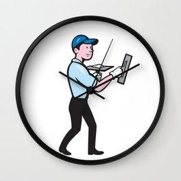 Plasterer Masonry Worker Trowel Cartoon Wall Clock