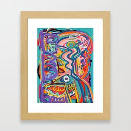 The Purple Kid with his Mother and the Bird Graffiti Art Expressionism Framed Art Print