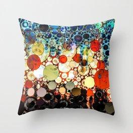 Contemporary Blue Orange Bubble Abstract Throw Pillow