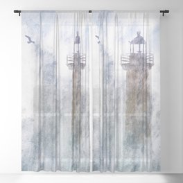 Storm in the lighthouse Sheer Curtain