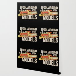 I Fool Around With Models TShirt Train Railfan Men Boys Kids Train Lover & Model Locomotive Gifts Wallpaper