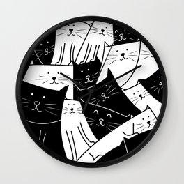 The Cats are Watching - B/W Wall Clock
