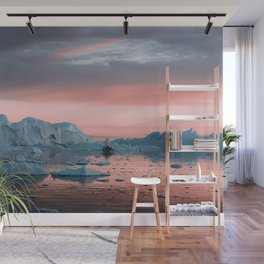 Boat in front of arctic icebergs during sunset Wall Mural