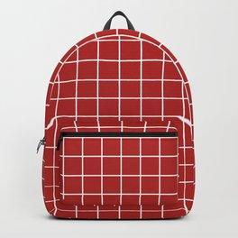 Firebrick - red color -  White Lines Grid Pattern Backpack
