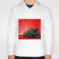 sofa Hoodies featuring cat on red sofa by ANArt