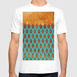 Copper Metal Foil and Aqua Mermaid Scales -Beautiful abstract glitter pattern T-shirt