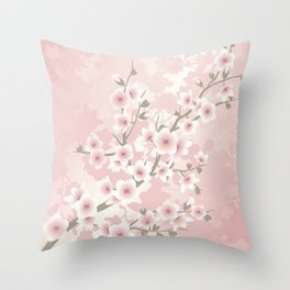 Vintage Floral Cherry Blossom Throw Pillow