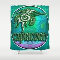 astrology Shower Curtains featuring Capricorn Zodiac Sign Astrology by CAP Artwork & Design