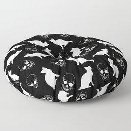 Skulls, Cats, Black and White, Pattern Floor Pillow