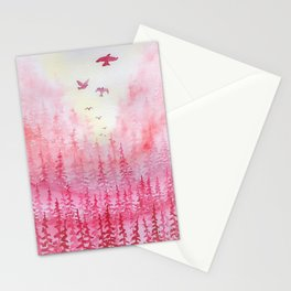 """""""Red Autumn Hills"""" watercolor landscape illustration Stationery Cards"""