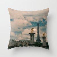 eiffel Throw Pillows featuring Eiffel by Esteban Calderón