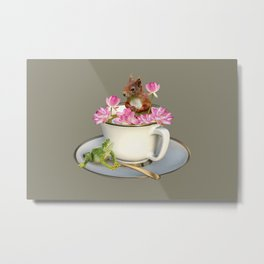 Coffee Cup with Squirrel & Frog pink Lotus Flowers Metal Print