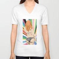 bikini V-neck T-shirts featuring Bikini by Sil-la Lopez