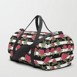 Red roses with horizontal stripes black white Duffle Bag