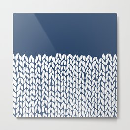 Half Knit Navy Metal Print