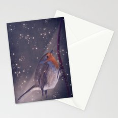 The little robin at the night Stationery Cards