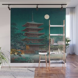 Tsuchiya Kôitsu Japanese Woodblock Vintage Print Garden At Night Moonlit Pagoda Tower Turquoise Sky Wall Mural