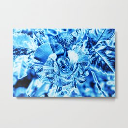 Blue and Turquoise Ice Rose Metal Print