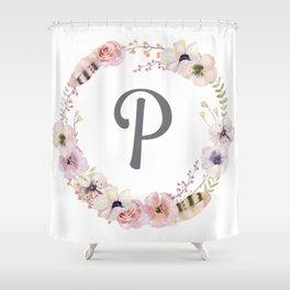 Floral Wreath - P Shower Curtain
