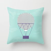 hot air balloon Throw Pillows featuring PURPLE HOT AIR BALLOON by Allyson Johnson