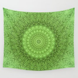Sunflower Feather Bohemian Leaf Pattern \\ Aesthetic Vintage \\ Green Teal Aqua Color Scheme Wall Tapestry