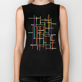 The map (after Mondrian) Biker Tank