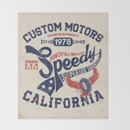 Custom motors california graphic Throw Blanket