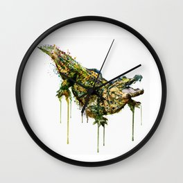 Alligator Watercolor Painting Wall Clock