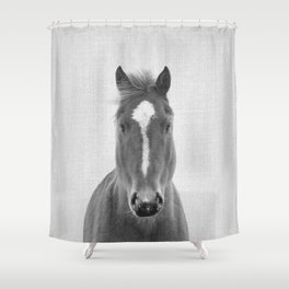 Horse II - Black & White Shower Curtain