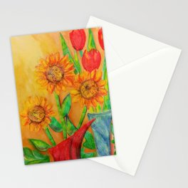 Little Sunflowers and Tulips Stationery Cards