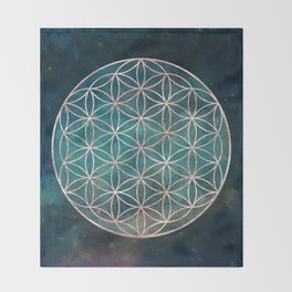 Mandala Flower of Life Rose Gold Space Stars Throw Blanket