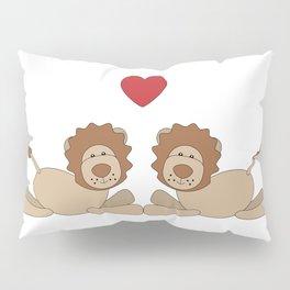 Couple of cute cartoon lions in love Pillow Sham