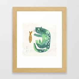 Green cat with fish Framed Art Print