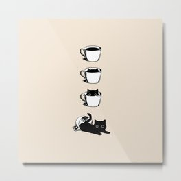 Morning Coffee, Cat in A Cup Metal Print