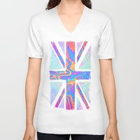 union jack V-neck T-shirts featuring Holographic Union Jack  by Berberism