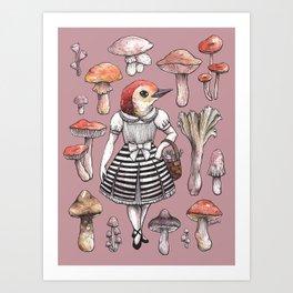 Mushroom Pickers - Lady Woodpecker Art Print