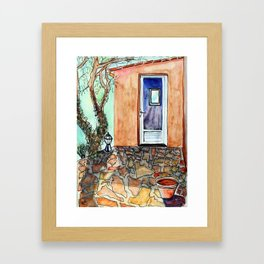 A watercolour of  a crazy paving patio in Provence Framed Art Print