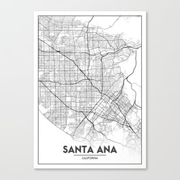 Minimal City Maps - Map Of Santa Ana, California, United States Canvas Print