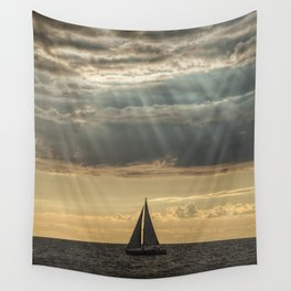 Sailboat Sailing in Lake Michigan beneath Sunbeams Wall Tapestry