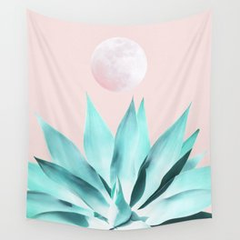 Stellar Agave and Full Moon - pastel aqua and pink Wall Tapestry