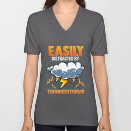 Easily Distracted By Thunderstorms Storm Chaser Unisex V-Neck