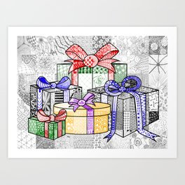 Coloured Christmas Presents Art Print