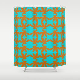 orange floral pattern on blue backround Shower Curtain