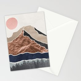 Mount Hood // Daylight Art Print Oregon Stratovolcano Rose Gold Silver Blue Cream Black Mountain Stationery Cards